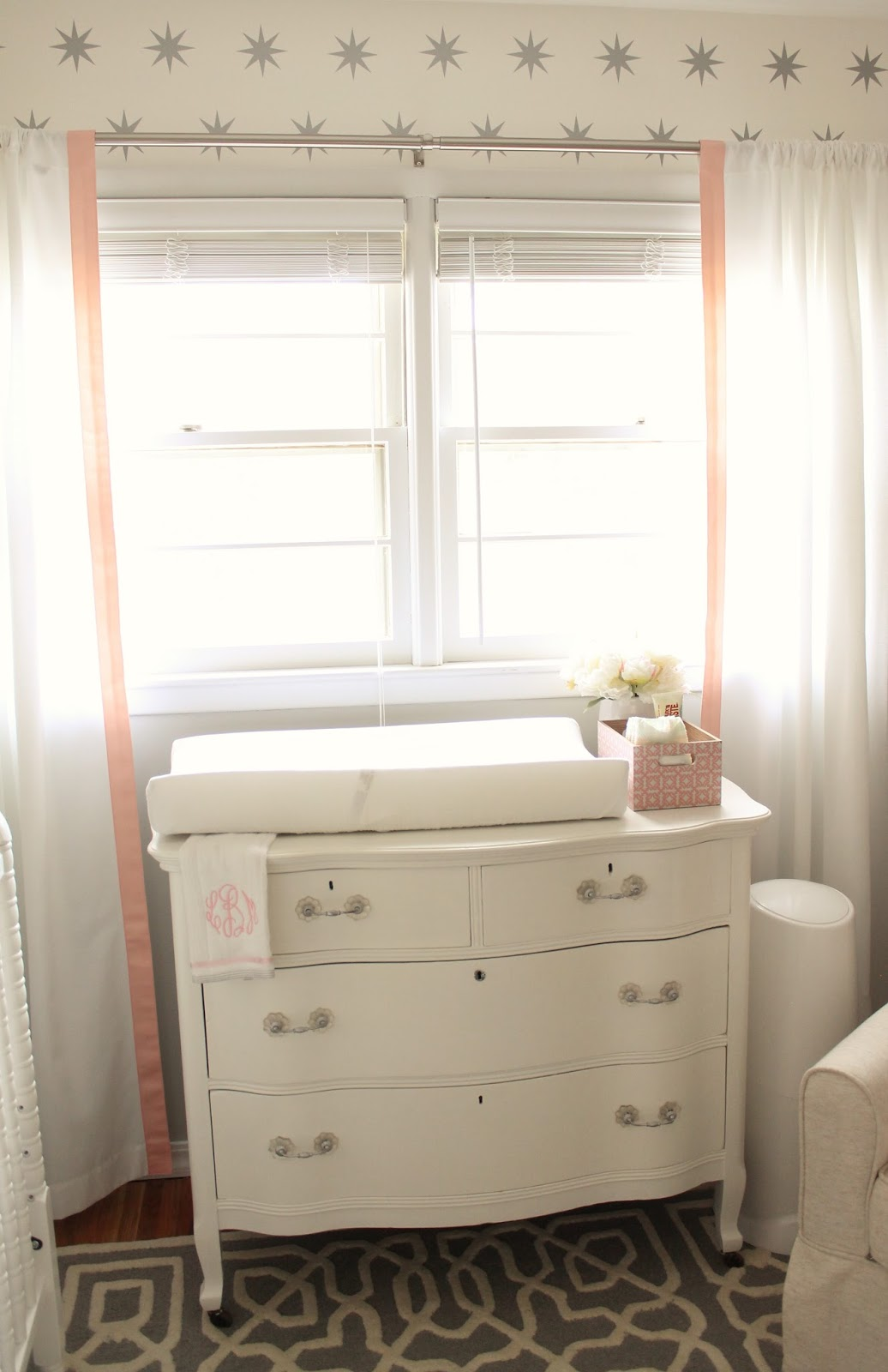 My Mother In Law Painted The Antique Dresser For Me. Which Weu0027re Using As A Changing  Table. I Love That We Can Continue To Use This Piece Even After The ...