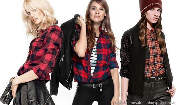 Moda otoño invierno 2014. Camisas a cuadros de mujer estampado a cuadros, Legacy, Yagmour y Kosiuko.