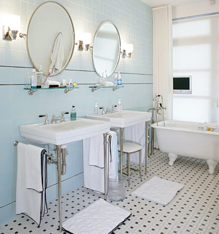 Vintage pearl the inspiration the vintage bathroom Classic bathroom tile ideas