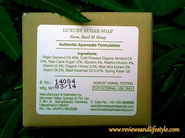 Forest Essentials Neem, Basil and Honey Luxury Sugar Soap Review Price Ingredients where to buy online