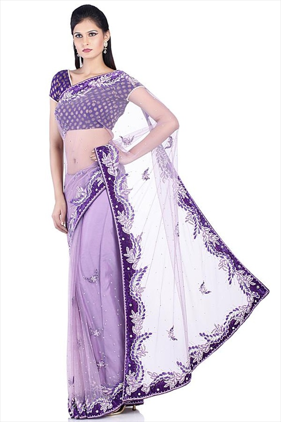 Regal Orchid Net Saree