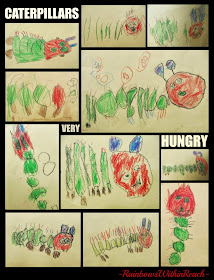 Authentic Art: VERY Hungry Caterpillars via Debbie Clement at RainbowsWithinReach