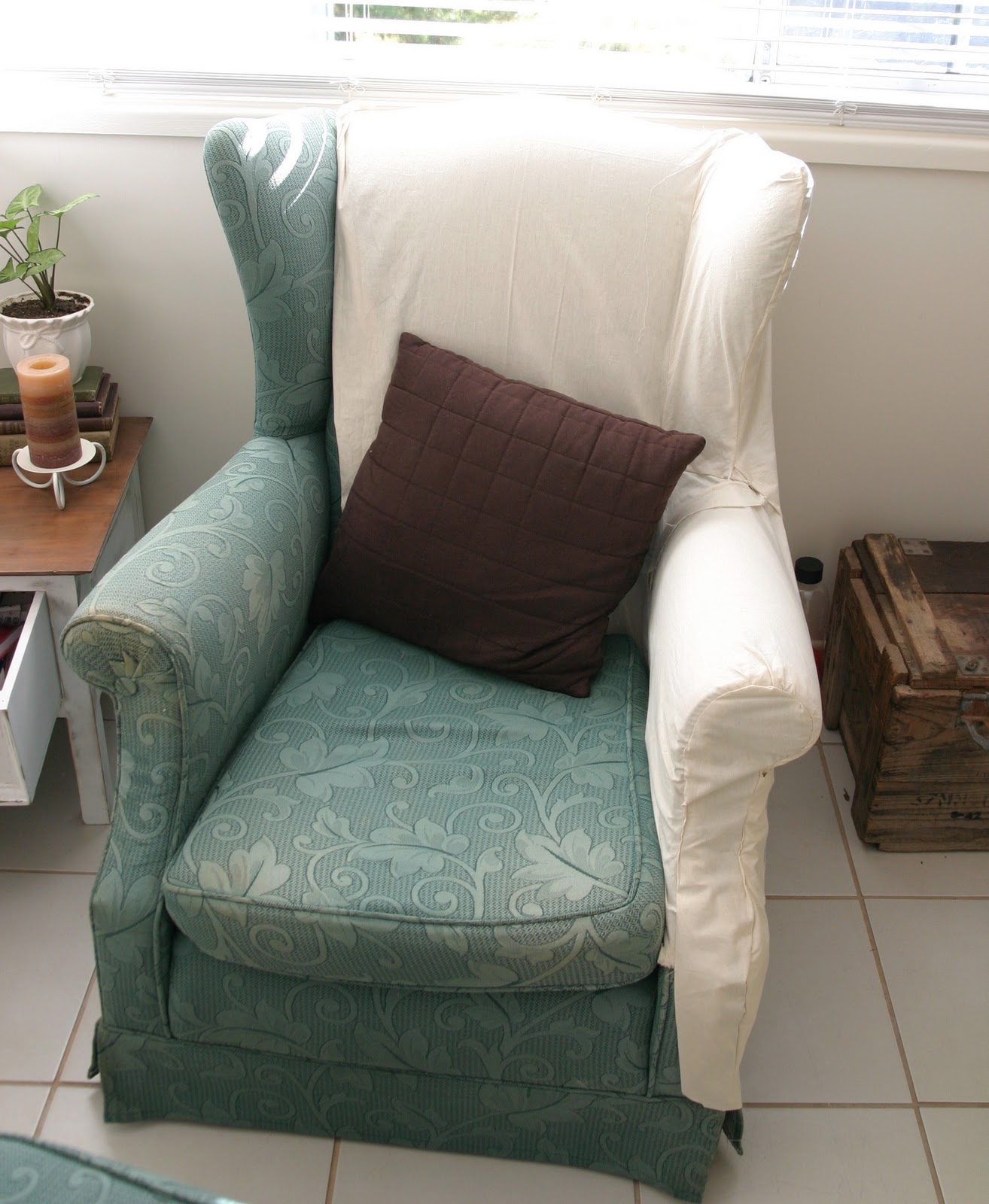 The Whimsical Wife: Wingback Chair Slipcovers... At long last!