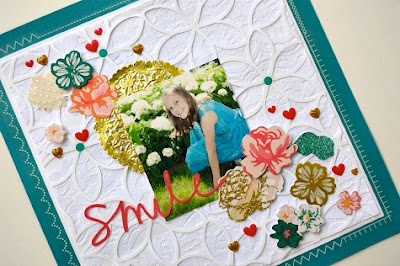 SRM Stickers Blog - Lace Layout by Christine Meyer - #lace #layout #stickers #stickerstitches #golddoily #doily