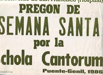 Pregón de la Scola Cantorum en el año 1986.