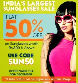 Enjoy Flat 50% Off on Sunglasses at Lenskart (India's Largest Sunglasses Sale)