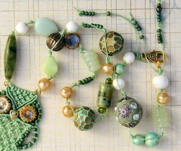 Eclectic assortment of beads including polymer, ceramic and stone.