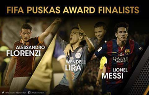 premio puskas award 2015 finalisti gol video florenzi lira messi