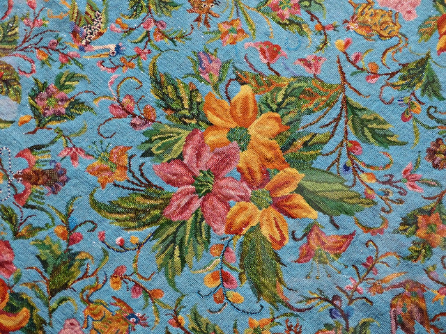 Flowers beadwork on tablecloth