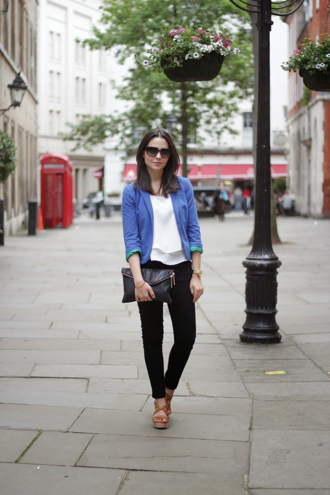 blue blazer, royal blue blazer, river island clutch, black clutch, zip clutch bag, tan wedge heel sandals, what defines us