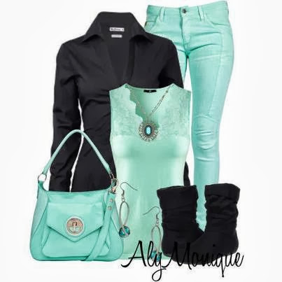 Black and light Green Winter Fashion