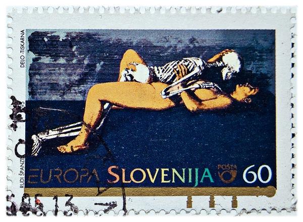 Slovensk frimærke fra 1995, med døden og nøgen pige
