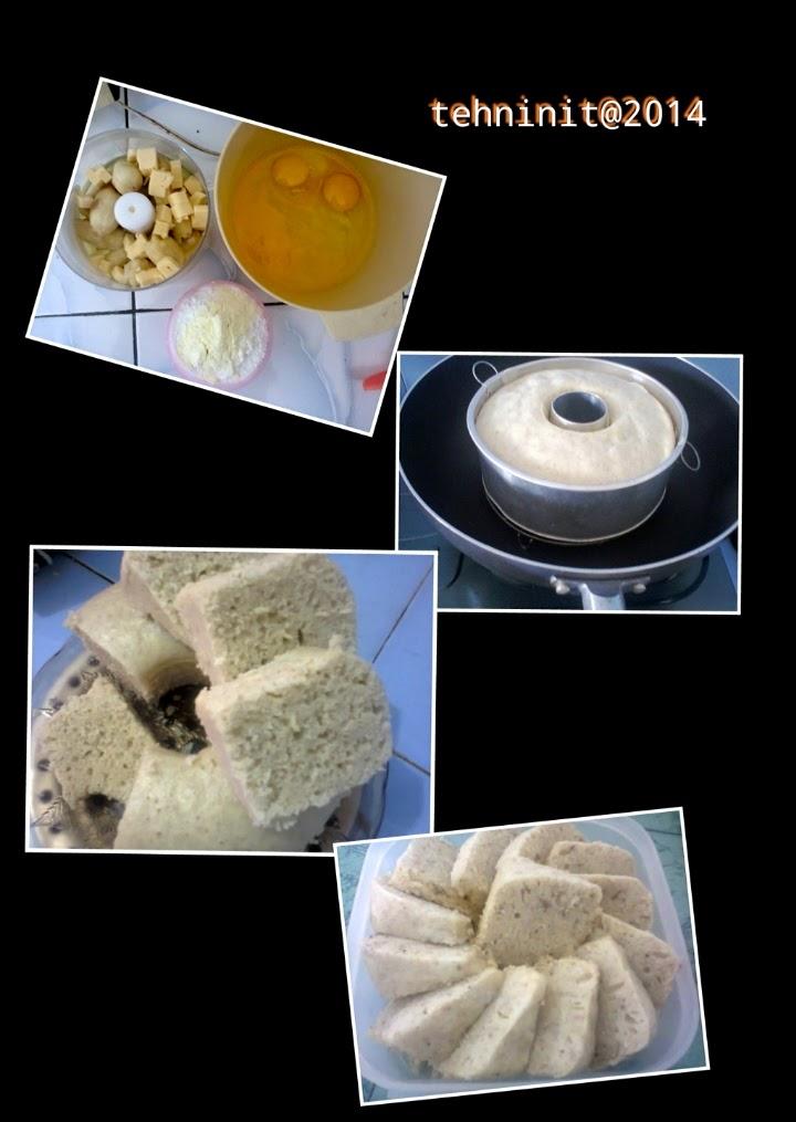 step by step bolu kukus pisang keju tepung beras