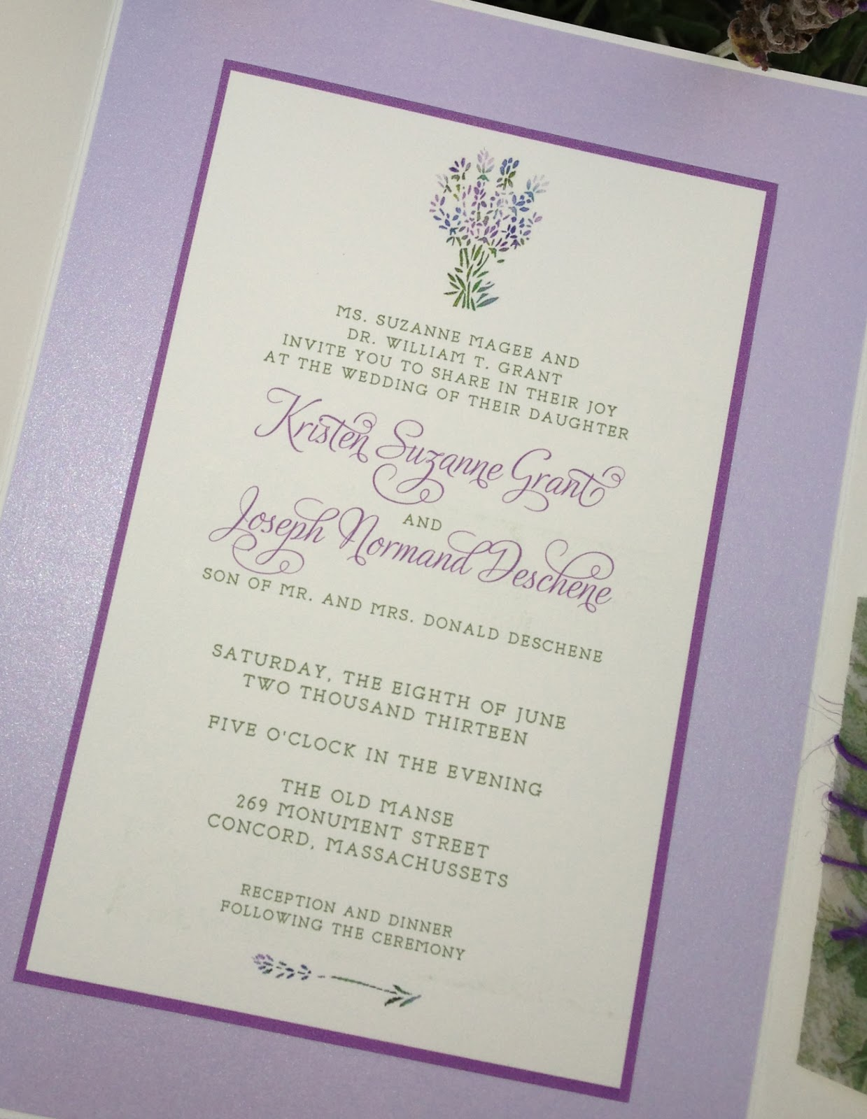 kim grant, ink & such: Lavender and Green Wedding Invitation Suite
