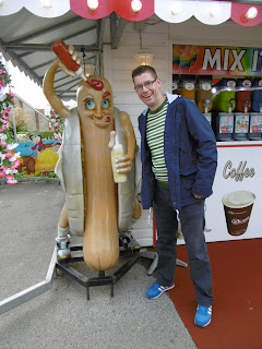 With a Hot Dog Man at the Santa Fe Fun park in Swanage, Dorset (site of our 600th Crazy Golf course visit)