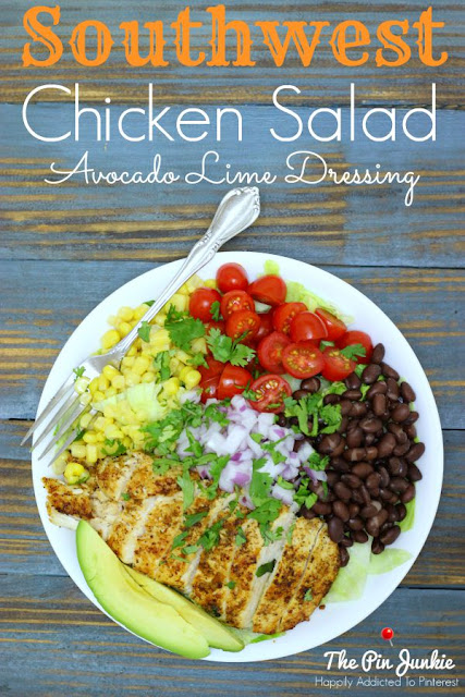 The Pin Junkie: Southwest Chicken Salad with Avocado Lime Dressing