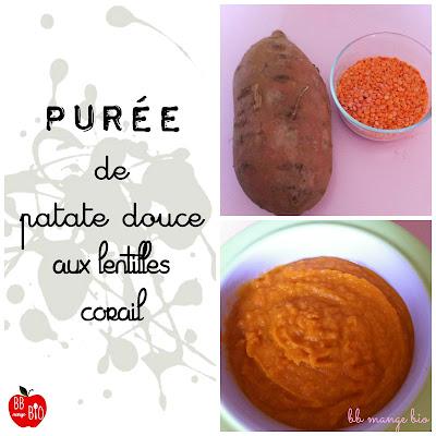 Purée de patate douce aux lentilles corail à partir de 8 mois pour les bébés bio proposée par BB mange bio bébé mange bio recette bio pour bébé