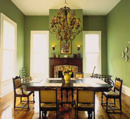 Home decorations dining room wall painting ideas paint for Green dining room