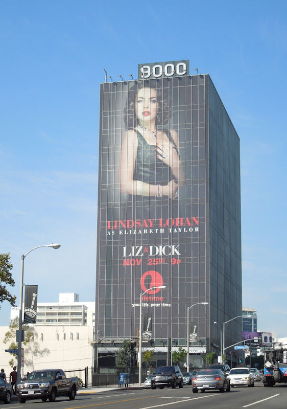 Giant Lindsay Lohan Liz Dick billboard Sunset Strip