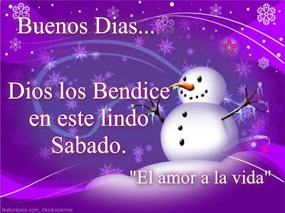 Dios los bendice, en color morado con el muñeco de nieve