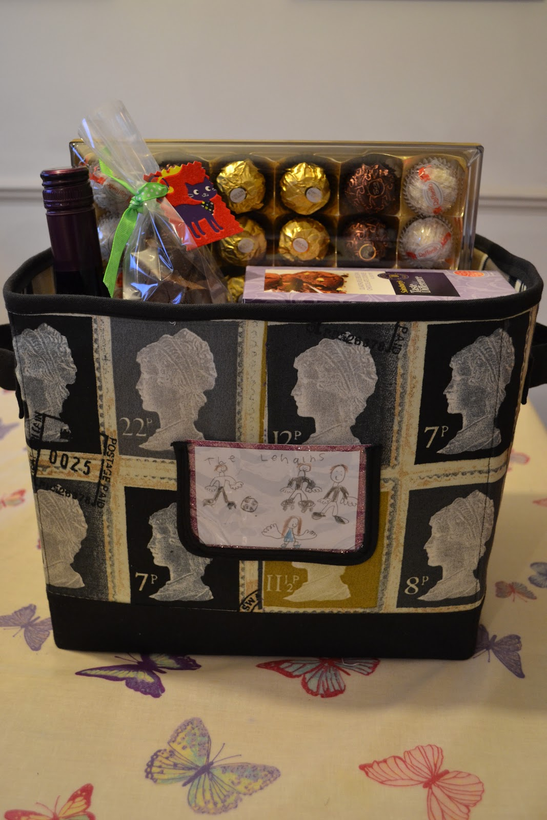 kitchen table sewing christmas hampers