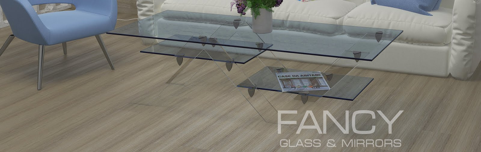 Interior with rectangular coffee table