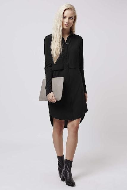 black layered shirt dress