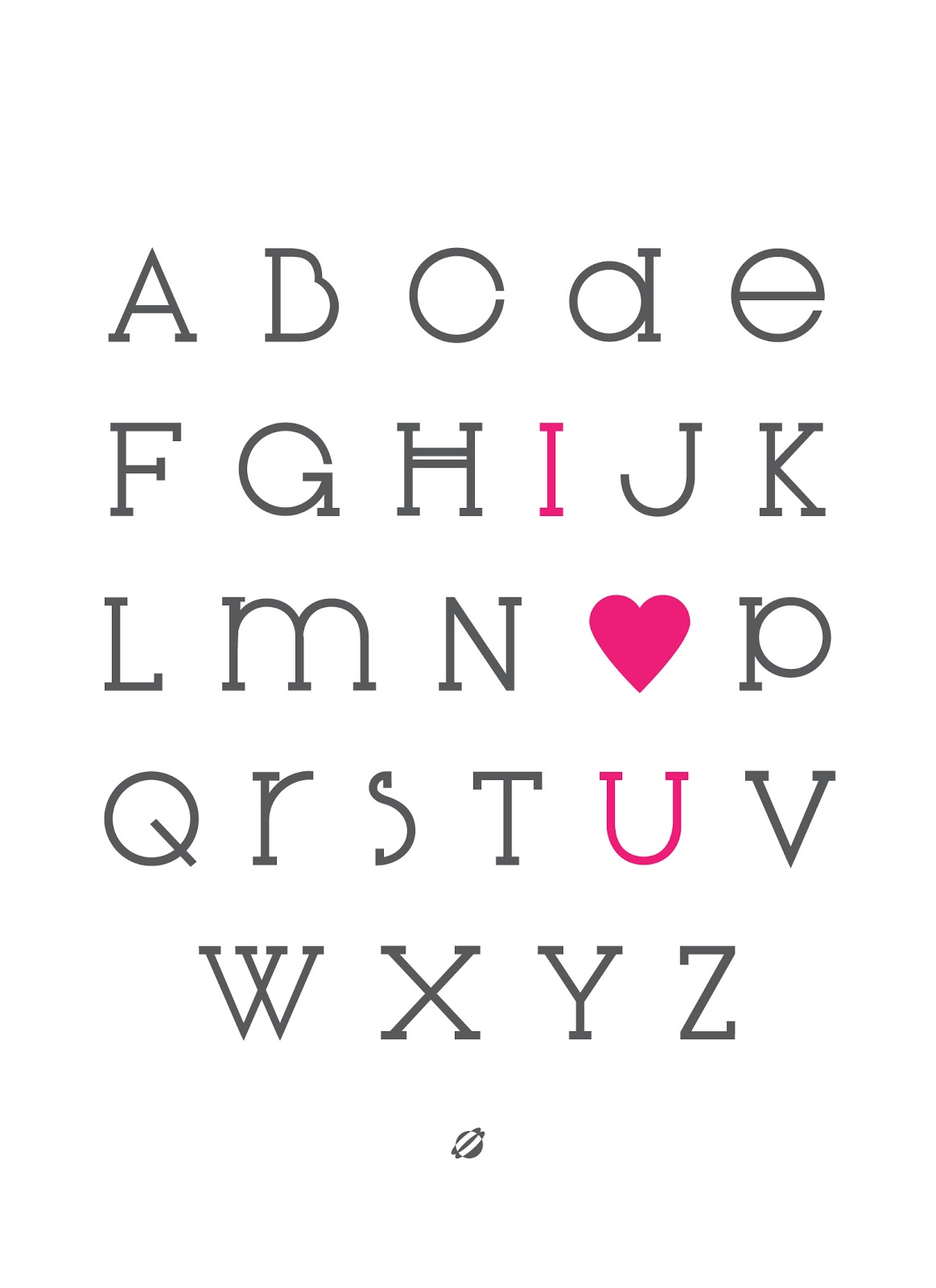LostBumblebee ©2013 IOU- Alphabet Love- HotPink #freeprintable- for personal use only