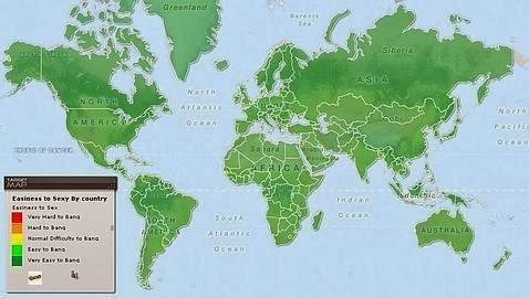 Mapa de la dificultad de conquistar a un hombre, por países
