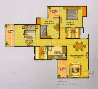 Livingston :: Floor Plans,Block G:-3 Bedroom Super Area - 1320 Sq Ft