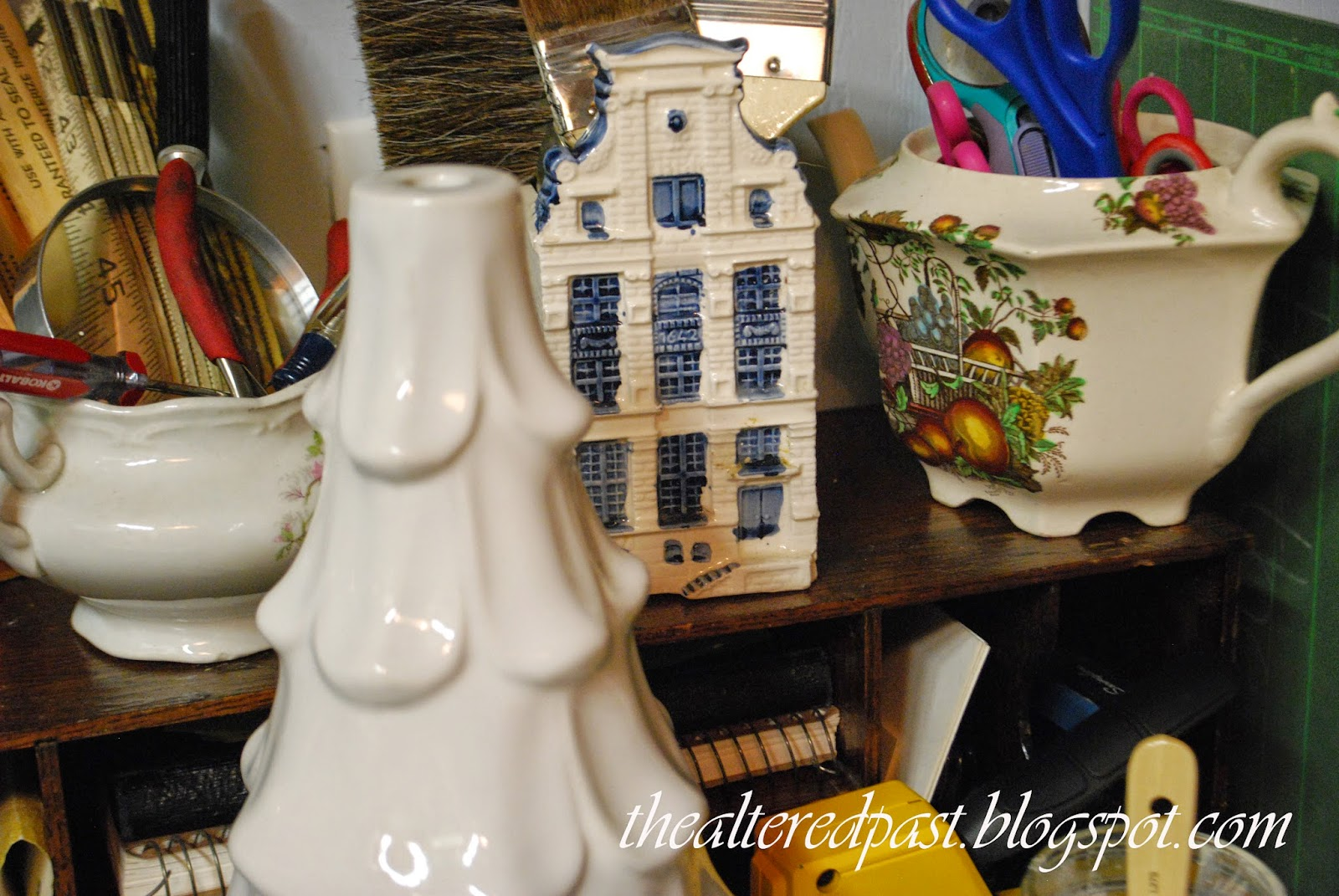workroom studio,  vintage dishes, the altered past blog