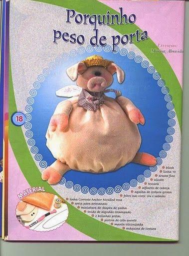 Moldes peso para porta de porquinho