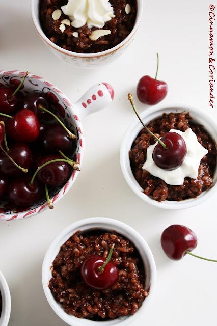 Chocolate Cherry Rice Pudding