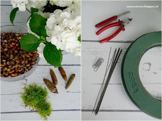diy Herbskranz, Herbstfloristik, Steckschaumring