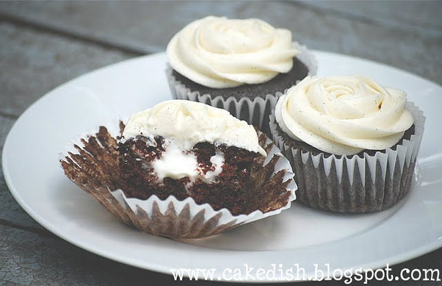 The Cake Dish: Cream Filled Chocolate Cupcakes