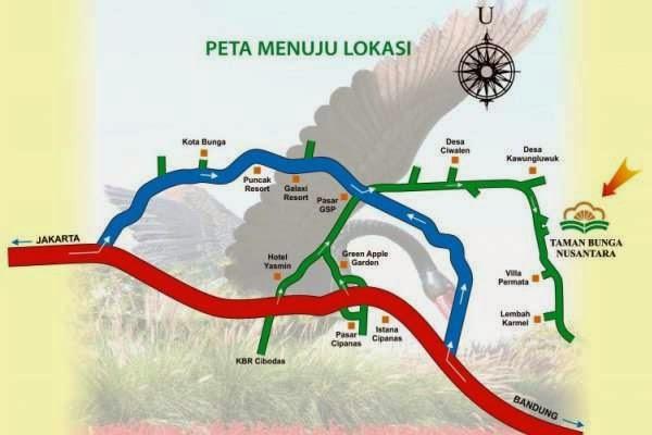 Peta lokasi Taman Bunga Nusantara