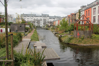 european village in Bo01 in Vastra Hamnen, Malmo looking north along the canal