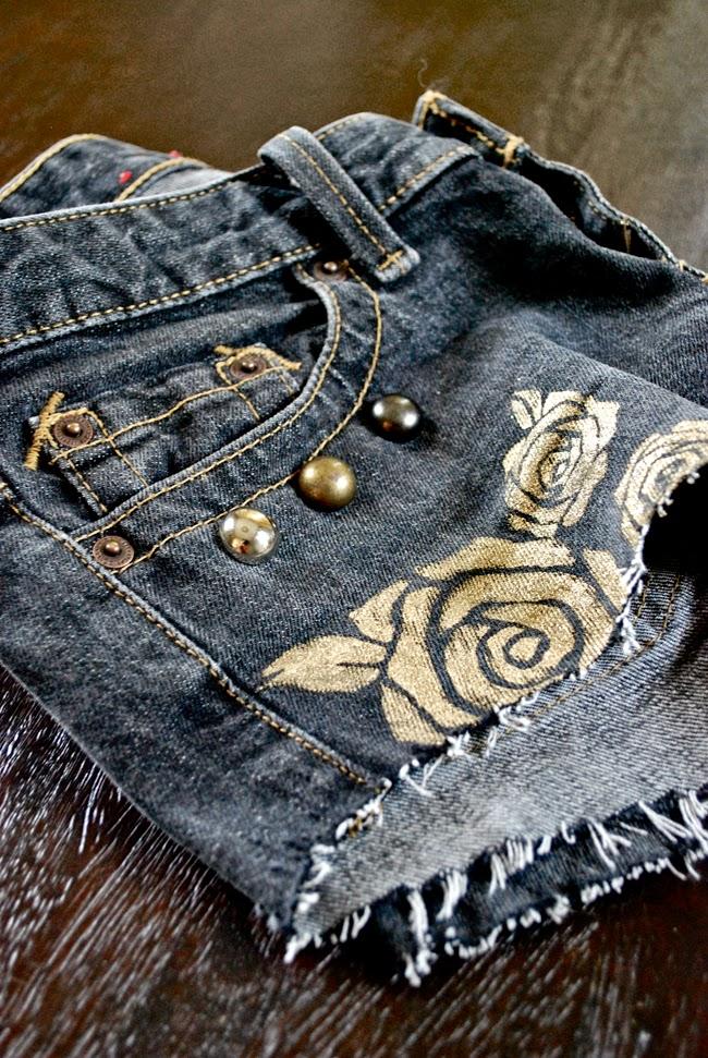 DIY stenciled & painted denim jeans