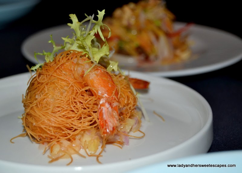 Kunafa Wrapped Prawns in a bed of sour fruit salsa