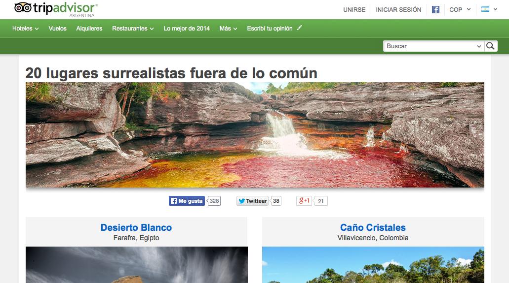 Caño Cristales entre los 20 destinos más surrealistas del mundo, según la red social más grande de turismo TripAdvisor