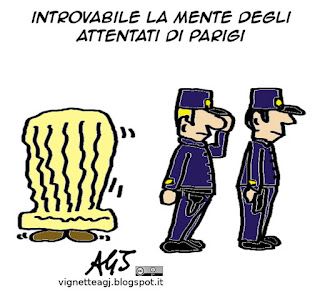 parigi, terrorista in fuga, ISIS, vignetta satira