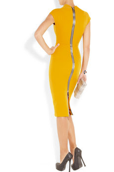 Bright-Yellow Double-Crepe Dress