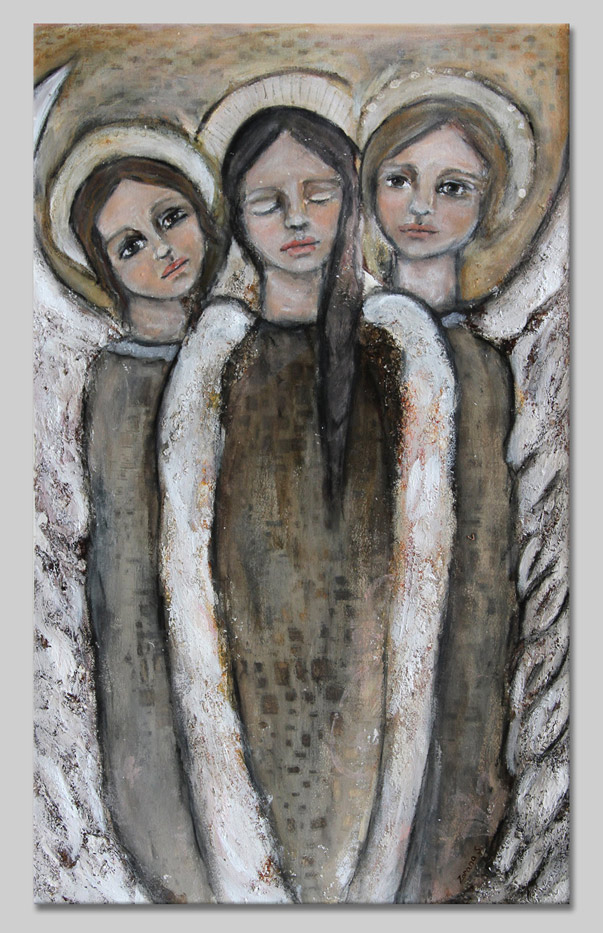 Original Angel mixed media painting by Zorana