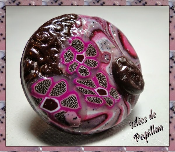 bague fimo rose marron