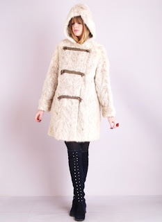 Vintage white mink princess fur coat with large hood and brown toggle closure.