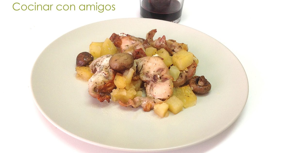 Conejo asado con setas portobello cocinar con amigos for Cocinar con 40 pesos