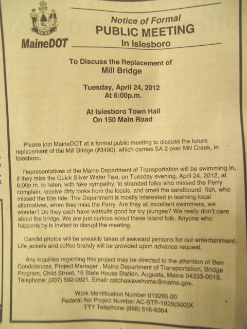 MaineDOT,Islesboro,Bangor_Daily_News,advertisement,Mill_Bridge,notice,spoof