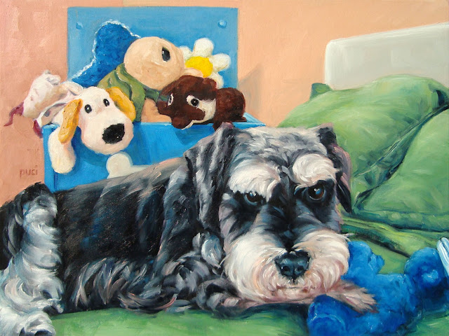 cute Schnauzer resting on bed, paw on fave plush toy with other toys behind. Fluffy pillows.