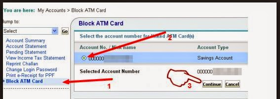 block sbi debit card
