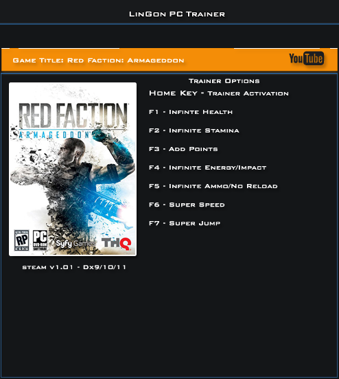 Red Faction Armageddon Steam v1.01 Trainer +7 [LinGon]